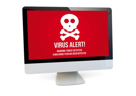 anti piracy: modern security concept: render of a computer with  virus alert on the screen isolated Stock Photo