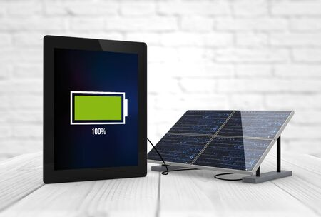 pannel: full battery tablet connected to a solar pannel. Digital generated.