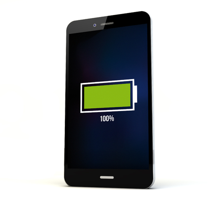 levels: Mobile phone charging concept. Smartphone with full battery. Diitally generated.