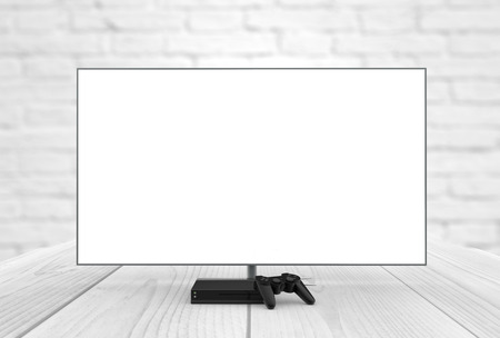 game console: empty television screen with game console and gamepad digitally generated