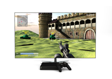 Computer gaming and entertainment technology concept: 3d generated lcd television, gamepad and game console isolated with shooter game on the screen. All graphics are made up.