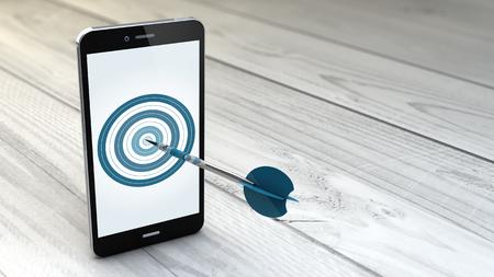 redes de mercadeo: digital generado marketing móvil y la focalización. Smartphone con diana en la pantalla. Foto de archivo