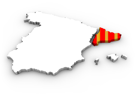 rupture: catalonia independence concept: digital generated map of spain with separated catalonia with flag colors