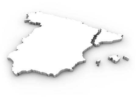 catalonia: digital generated map of spain with separated catalonia