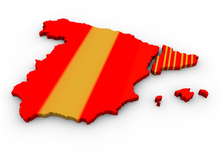 catalonia: map of spain with a separated catalonia Stock Photo