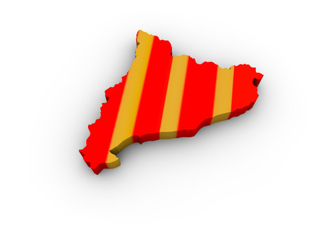 declaration of independence: render of a catalonia map with flag colors