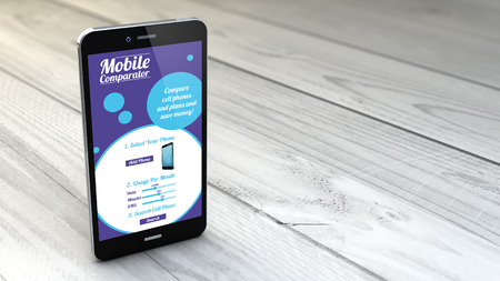 mobile plans and rates comparator on digital generated  smartphone over white wooden background. All screen graphics are made up.