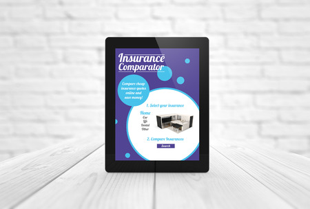 communications concept: render of a tablet with insurance comparator on the screen. All screen graphics are made up. Stock Photo