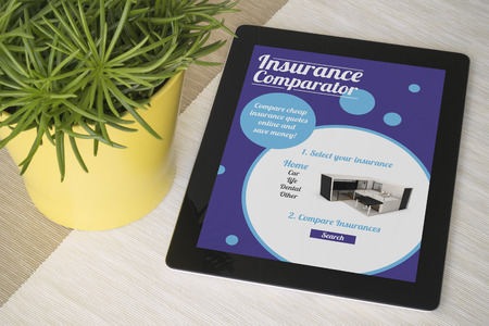 insurance comparator tablet. All screen graphics are made up