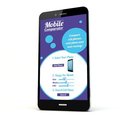render of a phone with online mobile rates and plans comparator on the screen isolated. Screen graphics are made up. Stock Photo