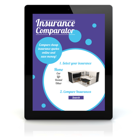 insurance comparator concept: render of a tablet pc with insurance comparator on the screen. Screen graphics are made up.