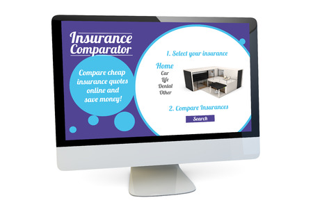 compare: modern insurance concept: render of a computer with insurance comparator website on the screen isolated Stock Photo