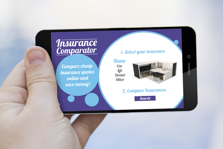 communications and security concept: hand holding a insurance comparator 3d generated smartphone. Screen graphics are made up.