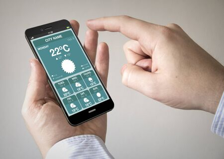 meteorology: Close up of man using mobile smart phone with online bank login application on the screen
