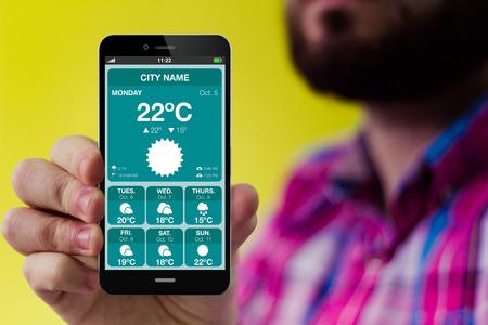 estado del tiempo: concepto de negocio en línea: Hipster con barba y camisa de cuadros que sostiene un smartphone con el formulario de solicitud de banco en la pantalla