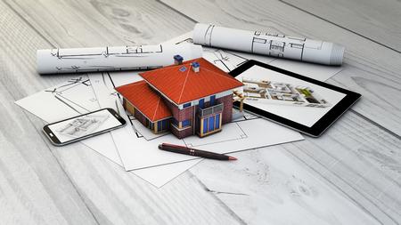 bienes raices: bienes raíces, la arquitectura o el concepto de diseño interior: dispositivos generados digitales y casa maqueta con parcelas