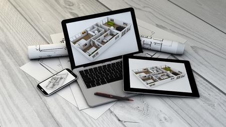 Immobilien, Bau oder Innenraumkonzept: digital erzeugte Geräte mit flachen Mock-up auf dem Bildschirm. Alle Bildschirmgrafiken bestehen.
