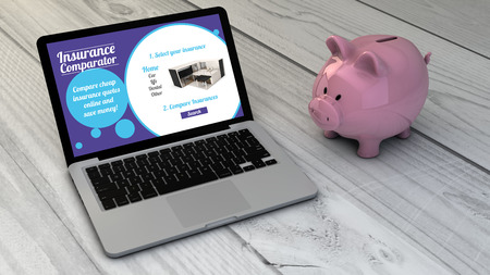 health equity: save money comparing insurances online concept: piggybank and insurance comparator online site laptop over wooden desk. All screen graphics are made up Stock Photo