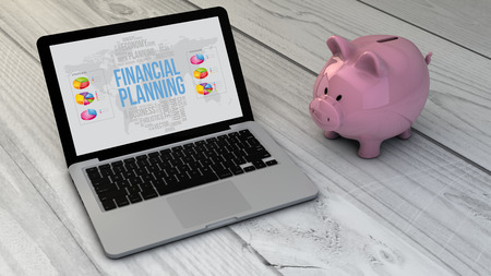 financial item: financial planning concept: piggybank and financial planning online site laptop over wooden desk. All screen graphics are made up