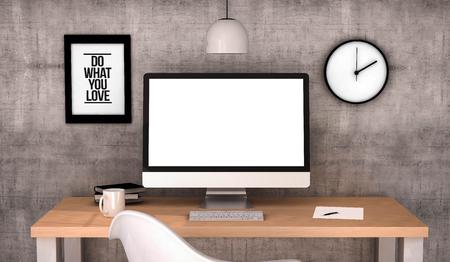 digital erzeugte Arbeitsplatz Desktop mit leeren Bildschirm-Computer.