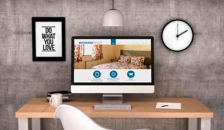 digital generiert mit Arbeitsplatz Desktop-Website auf dem Bildschirm Computer buchen. Alle Bildschirmgrafiken bestehen. 3D erzeugt. Lizenzfreie Bilder
