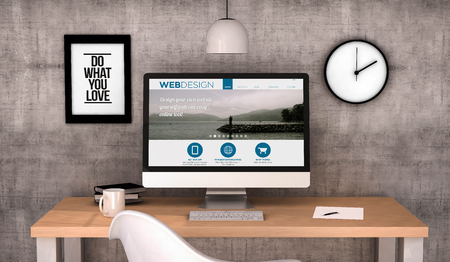 デジタルには、コンピューター画面上の web デザインのウェブサイトとデスクトップ作業領域が生成されます。全画面表示のグラフィックスが成って