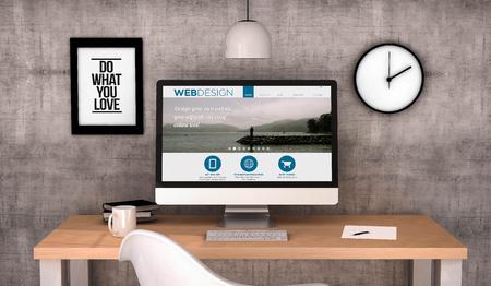 digital erzeugte Arbeitsplatz Desktop mit Web-Design-Website auf dem Bildschirm-Computer. Alle Bildschirmgrafiken bestehen. 3D erzeugt. Lizenzfreie Bilder