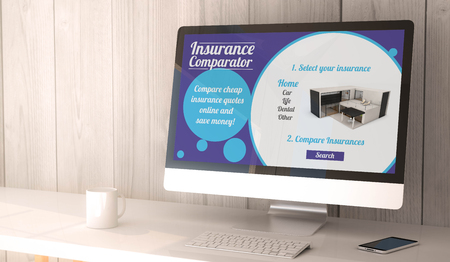 desktop computers: digital render generated workspace with computer and smartphone. insurance comparator website on screen. All screen graphics are made up.