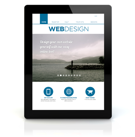 webdesign: webdesign concept: render of a tablet pc with webdesign on the screen. Screen graphics are made up. Stock Photo