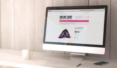 user: digital render generated workspace with computer and smartphone.online shop on the screen. All screen graphics are made up. Stock Photo