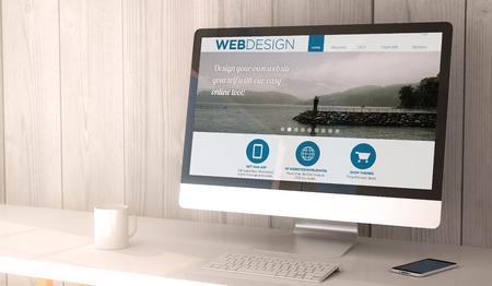design: numériques render généré espace de travail avec ordinateur et smartphone. site web design sur l'écran. Tous les graphiques à l'écran sont constitués.