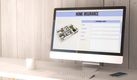 household insurance: digital render generated workspace with computer and smartphone with home insurance form on the screen. Stock Photo