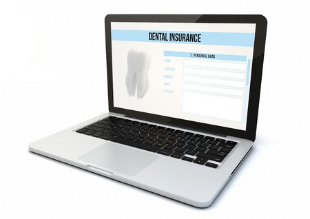 dental insurance: render of a 3d generated computer with dental insurance on the screen.