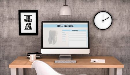 dental insurance: digital generated workspace desktop with dental insurance on screen computer. Stock Photo