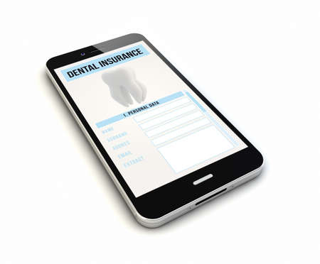 dental insurance: render of an original smartphone with dental insurance on the screen.