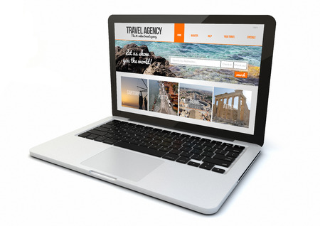 reiseb�ro: render of a 3d generated computer with travel agency website on screen. Screen graphics are made up.