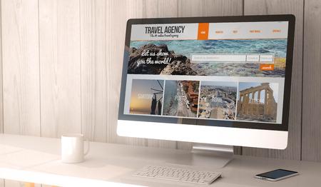 cyfrowe generowane renderowania obszar roboczy z komputerem a smartfonem z biurem podróży w Internecie na ekranie. Wszystkie grafiki na ekranie są zmyślone.