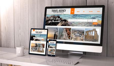 agencia de viajes: Digital generado dispositivos de escritorio, que responde en blanco maqueta con el sitio web de la agencia de viajes en la pantalla. Todos los gráficos de la pantalla se componen.