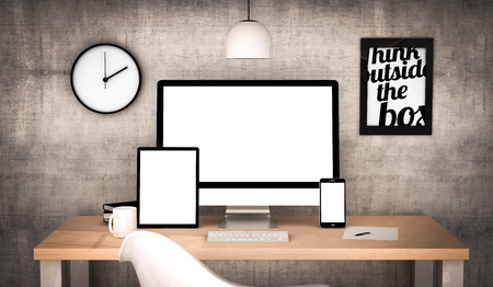 Digital generiert Arbeitsplatz Desktop mit leeren Bildschirm Tablet PC, Computer, Laptop und verschiedenen Office-Objekte