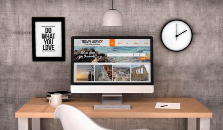 digital erzeugte Arbeitsplatz Desktop mit Reisebüro-Website auf dem Bildschirm-Computer. Alle Bildschirmgrafiken bestehen. 3D erzeugt.