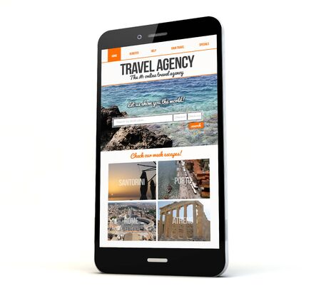reiseb�ro: render of a phone with travel agency website on the screen isolated. Screen graphics are made up.