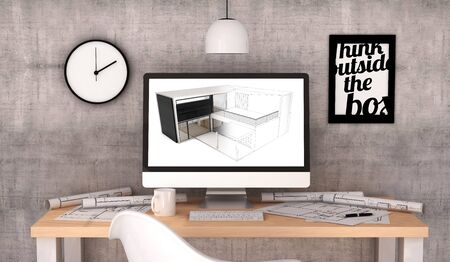 house project: digital generated architecture workplace with house project on screen.