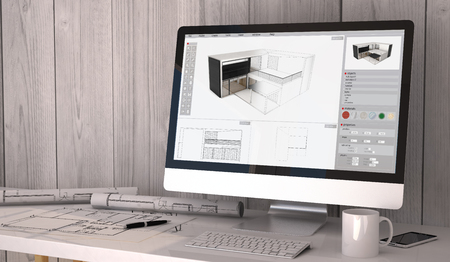 plots: Digital generated architect workplace with plots and computer with architecture software on screen.