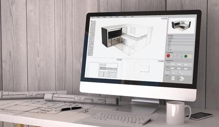 Digital generierte Architekt Arbeitsplatz mit Plots und Computer mit Architektursoftware auf dem Bildschirm.