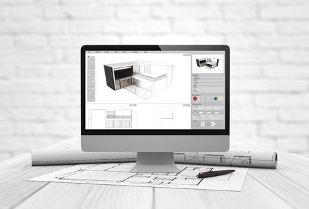 arquitecto: estudio de arquitectura generada digital con equipo de software de arquitectura y parcelas sobre mesa de madera