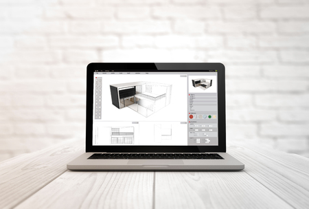 briks: architecture concept: digitally generated laptop on a wooden table with architecture software. Stock Photo