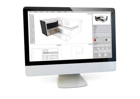 technology career: modern architecture concept: render of a computer with architecture software model on the screen isolated