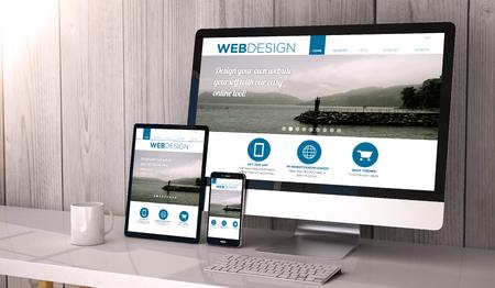 Digital generierte Geräte auf dem Desktop, reaktions blank Mock-up mit Web-Design-Vorlage Website Flüssigkeit auf dem Bildschirm. Alle Bildschirmgrafik zusammensetzen.