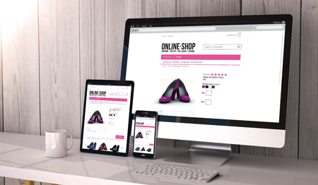 Digital generated devices on desktop, responsive mock-up with online shop website  on screen. All screen graphics are made up.