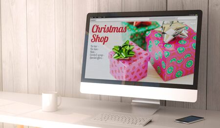 sellout: digital render generated workspace with onlinechristmas shop on the screen of computer and smartphone. All screen graphics are made up.